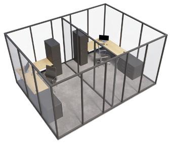 Single glazed - 4 sided room with internal wall